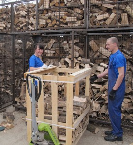 hand stacked crates of firewood