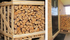 Crates of birch and ash firewood