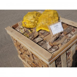 Crate of logs deal with kindling